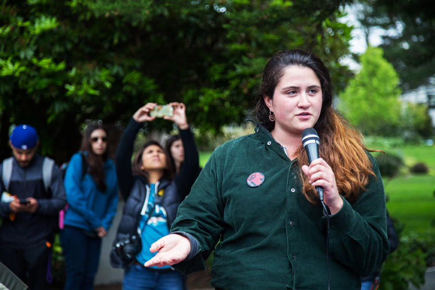 SF State student Sofia Cárdenas speaks to a crowd of students and faculty on May 11, informing them of the nine demands that the school board agreed to meet, in order to end the hunger strike by funding the College of Ethnic Studies. Photo Natasha Dangond