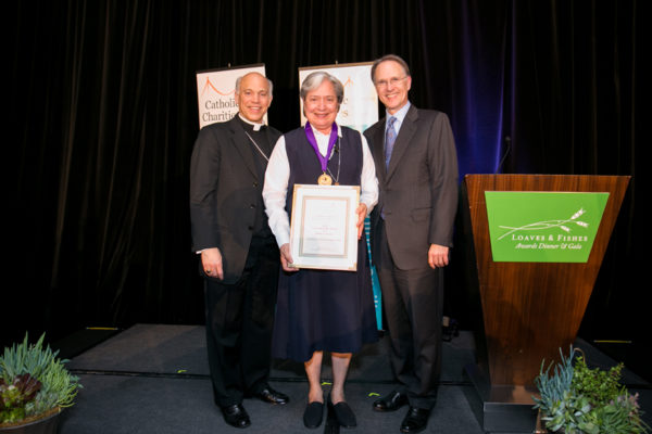 Sister Norma Pimentel was awarded the Loaves & Fishes Award for Faith in Action on April 16 in San Francisco, for her work in aiding refugees and immigrants along the Texas-Mexico border. Courtesy of Catholic Charities