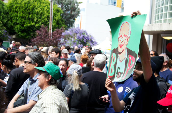 A crowd at City College of San Francisco's Mission Campus waits for Presidential hopeful Bernie Sanders to give a speech on Monday June 6, 2016. Photo Mabel Jiménez