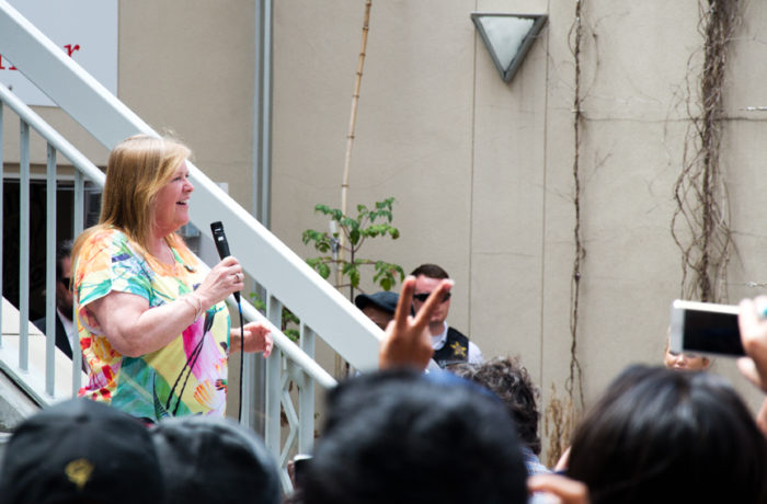 Jane O'Meara Sanders introduces her husband, presidential hopeful Bernie Sanders, to give a speech at City College of San Francisco's Mission Campus on Monday June 6, 2016. Photo Mabel Jiménez