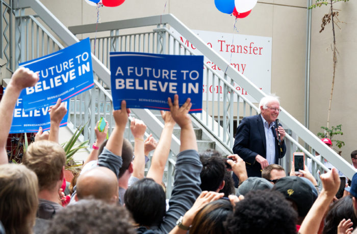 Presidential hopeful Bernie Sanders gives a speech at City College of San Francisco's Mission Campus on Monday, June 6, 2016. Photo Mabel Jiménez
