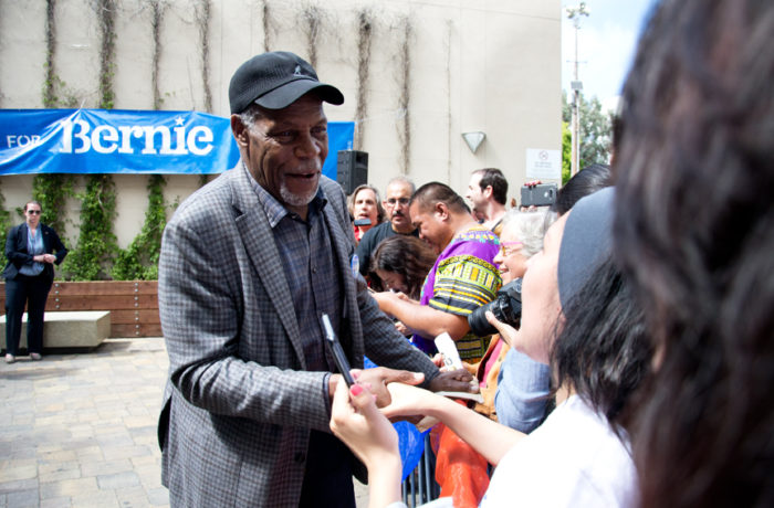 Danny Glover greets a crowd at City College of San Francisco's Mission Campus after a speech by presidential hopeful Bernie Sanders on Monday, June 6, 2016. Photo Mabel Jiménez