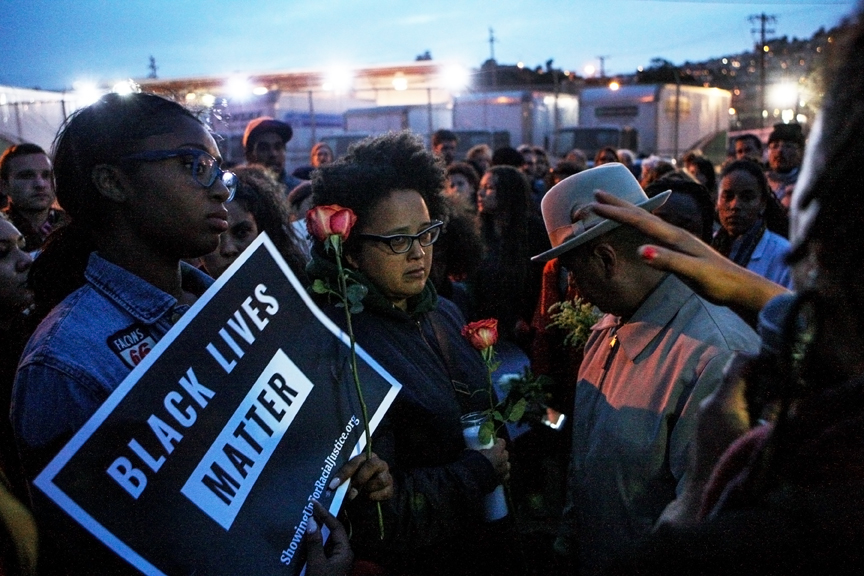 Community members gather during a vigil held for Jessica Williams, who was fatally shot by SFPD on May 19. Photo Joel Angel Juárez