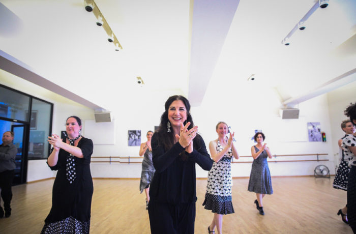 Master flamenco teacher and choreographer, Danica Sena dances with a group of her students on June 11, during rehearsal for an upcoming performance which will be held June 18-19 in the ODC's Global Dance Passport showcase. Photo Ekevara Kitpowsong