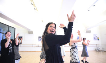 During the Flamenco class on Saturday, June 11 at ODC Dance Commons, a master Flamenco teacher and choreographer, Danica Sena dances in with a group of her students while they are dancing in rehearsal for the performance which will be shown on June 18-19 in the ODC's Global Dance Passport showcase. (Ekevara Kitpowsong/ El Tecolote)