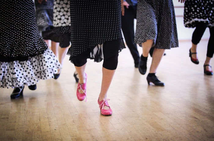 Students of flamenco teacher Danica Sena dance on June 11 at ODC Dance Commons in rehearsing for a performance which will be held June 18-19 in the ODC's Global Dance Passport showcase. Photo Ekevara Kitpowsong