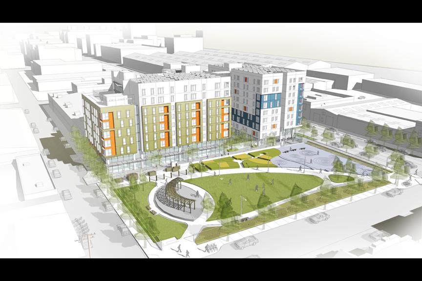 Imagen sobre el proyecto de vivienda planeado en el 2060 de la calle Folsom. Conceptual drawing of the affordable housing project planned for 2060 Folsom St. Courtesía Mithun and Y.A. Studio