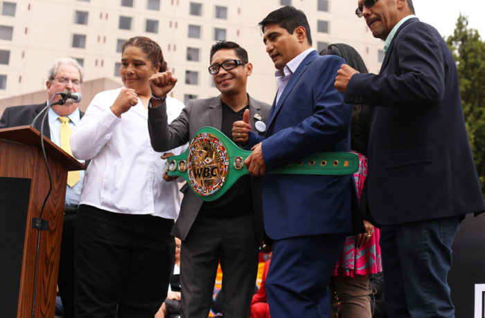 Boxers Martha Salazar, Israel Vazquez, Érik Morales, and Gabriel Ruelas gave away over 100 pairs of autographed kid's boxing gloves for the dedication ceremony for The Mexican Museum in San Francisco on Tuesday, July 19, 2016. Jessica Webb