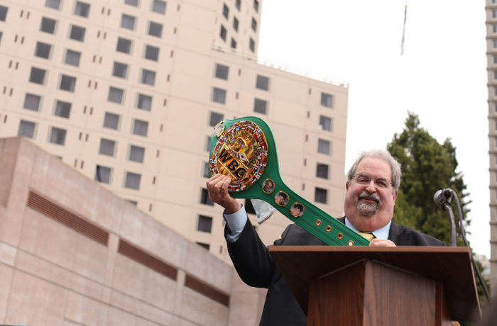 Andrew Kluger, The Mexican Museum Board Chairman, with the WBC title belt at the dedication ceremony for The Mexican Museum in San Francisco on Tuesday, July 19, 2016. Photo Jessica Webb