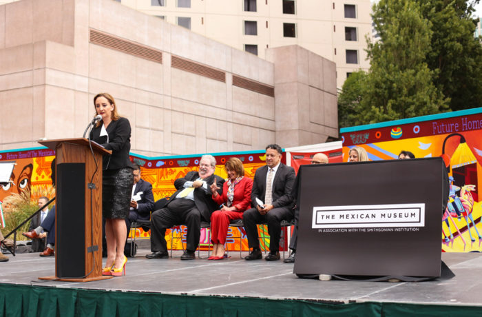 """""""Culture is mankind's most endearing footprint,"""" Mexican Secretary of Foreign Affairs Claudia Ruiz Massieu said at The Mexican Museum's dedication ceremony on Tuesday, July 19, 2016. Photo Jessica Webb"""