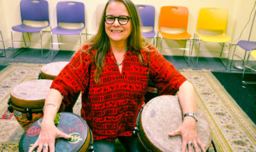 Celia Sampayo Perez, a harm reduction therapist from Venezuela, hosts a medicinal drumming circle every Wednesday at the Hospitality House in the Tenderloin. Photo Armando Valdez