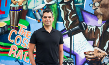 Calle 24 Latino Cultural District's new corridor manager, Moisés García poses for a portrait on 24th Street. Photo Beth LaBerge