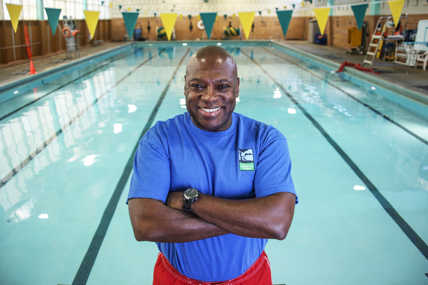 Ronnie Chism, an Aquatic Facilities Supervisor and Water Aerobics Instructor, poses for a portrait at the Garfield Pool in San Francisco, California on September 20, 2016. (Photo by Joel Angel Juárez)