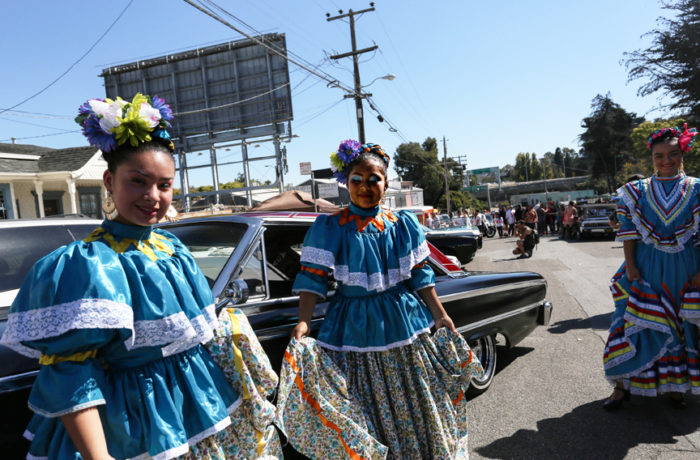 Nicole Salazar-Ramos and Inkza Angeles of the Cuicacalli Escuela de Danza at the the San Francisco Lowrider Council barbecue held at Potrero del Sol (La Raza) Park on Sunday, Sept. 18.  Photo: Jessica Webb