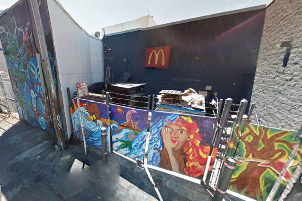 Precita Eyes youth mural behind the McDonalds at the corner of 24th and Mission streets in its original state in 2014. Photo Google Maps