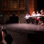 Roberto Hernández (a la izquierda) fue moderadores del debate entre los cuatro candidatos a Supervisor del Distrito 9 (desde la izquierda) Iswary España, Melissa San Miguel, Hillary Ronen y Joshua Arce. Foto Erasmo Martinez
