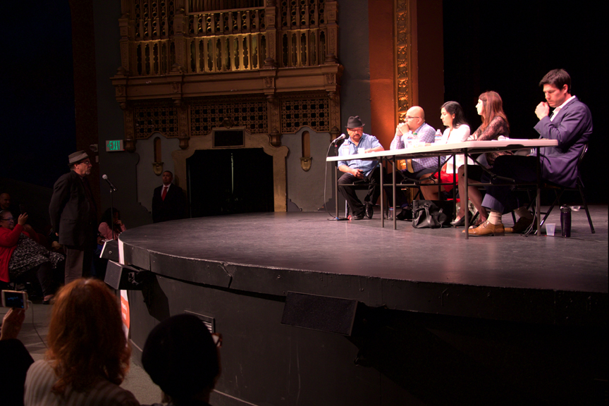 Roberto Hernandez (left) moderates a debate between the four candidates for District 9 Supervisor, (from left) Iswary España, Melissa San Miguel, Hillary Ronen and Joshua Arce. Photo Erasmo Martinez