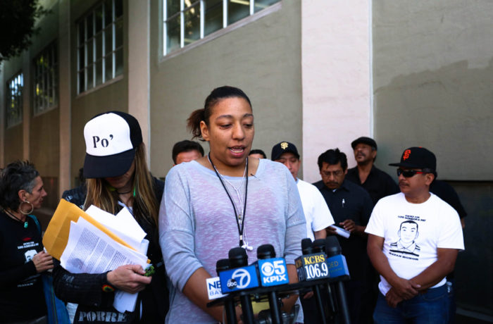 Stephanie Grant, witness and resident of the encampment where Luis resided, speaks to the press on Oct. 7, 6 months after Luis Demetrio Góngora Pat's death. Photo: Jessica Webb