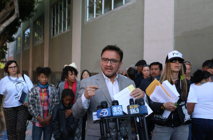 David Campos speaks to the press on Oct. 7, 6 months after Luis Demetrio Góngora Pat's death. Photo: Jessica Webb