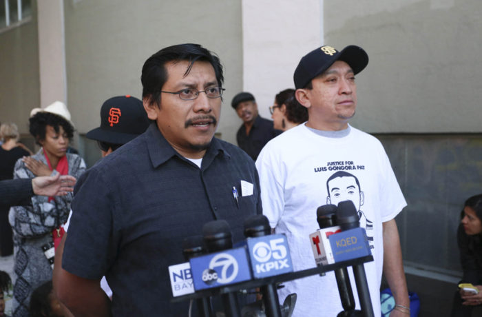 Carlos Poot Pat, cousin of Luis Góngora Pat, speaks to the press on Oct. 7, 6 months after Pat's death: Jessica Webb