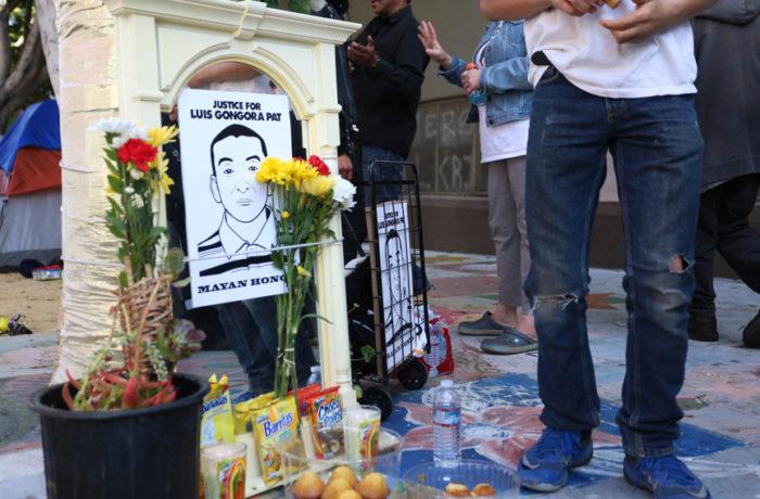 Memorial  for Luis Demetrio Góngora Pat's death on April 7. Photo: Jessica Webb