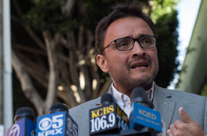 District 9 Supervisor David Campos addresses the media on Oct. 7 at a press conference held 6 months after the death of Luis Gongora Pat, who was shot and killed by SFPD officers. Photo: Patricio Guillamon