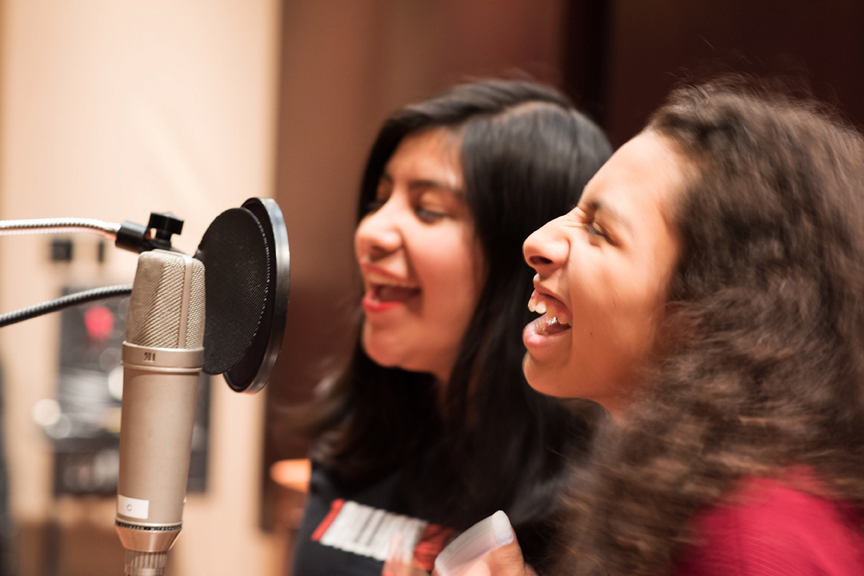 """Ana and Eliseana from Mission Girls record the song """"We are the Women"""" through a partnership with Future Youth Records, a nonprofit record label. Courtesy Mission Girls"""