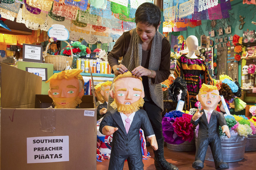 "Nancy Charraga, owner of Mexican craft store Casa Bonampak located on Valencia Street between 22nd and 21st streets, has been selling Donald Trump piñatas since the business buffoon-turned-Republican Presidential nominee announced his candidacy.    As far as piñatas go, they were a hit.    One problem—her piñatas, which are made in Mexico and sold at her shop in San Francisco's Mission District, were soon confiscated at the U.S.-Mexico border after the items were held at U.S. customs for bearing the Trump namebrand. So in attempt to keep her shelves stocked with the popular effigies of the not-so-popular ""candidate,""  To get the ""illegal"" Trump piñatas across the border, Charraga's vendors resorted to labeling the bashable dummies as ""Southern Preacher"" piñatas, and disguising them with false beards to boot. The trick worked.    It appears some ""bad hombres"" are still sneaking past border patrol."