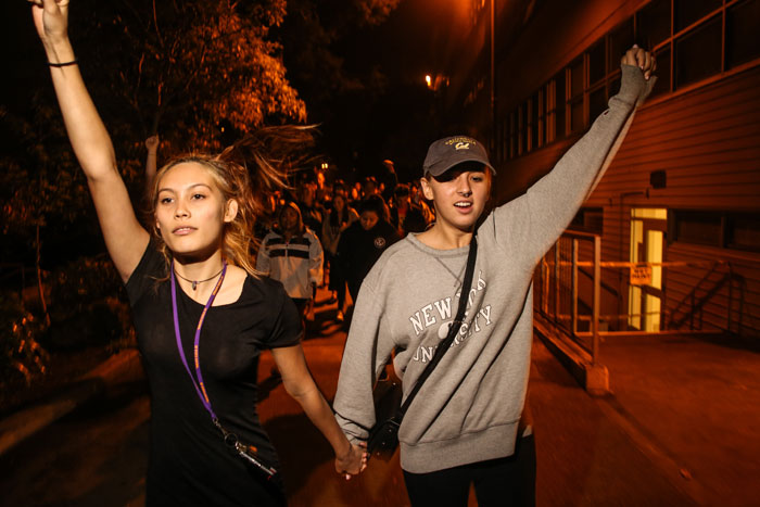 Students from San Francisco State University protest after Donald Trump wins US Presidency in San Francisco, California after midnight on Nov. 9, 2016. Photo: Joel Angel Juárez