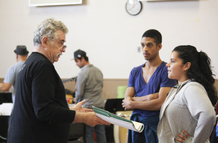 """The cast and crew of """"El Son de la Misión"""" gather for a rehearsal at the Band Room inside San Francisco State University's Creative Arts Building on Oct. 29, 2016. Photo: Edgar Pacheco"""