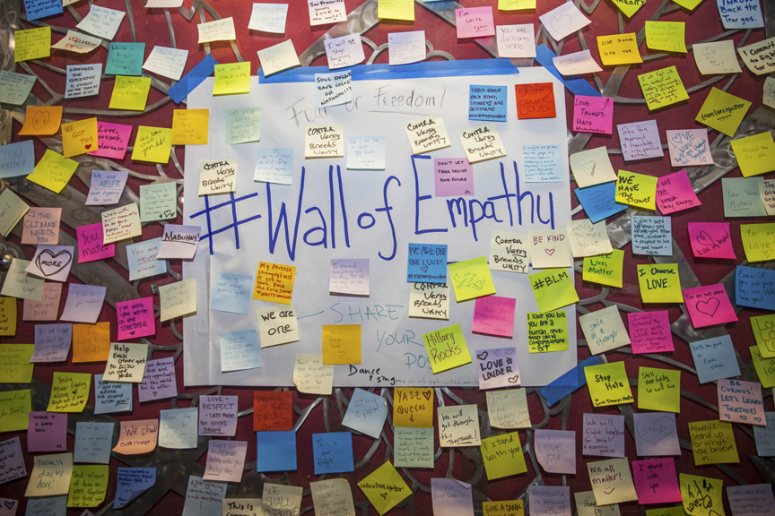 "Donald Trump's post-election sticky notes cover the ""Wall of Empathy"" at 16th Street Mission Station in San Francisco on Monday, Nov. 14, 2016. (Ekevara Kitpowsong)"