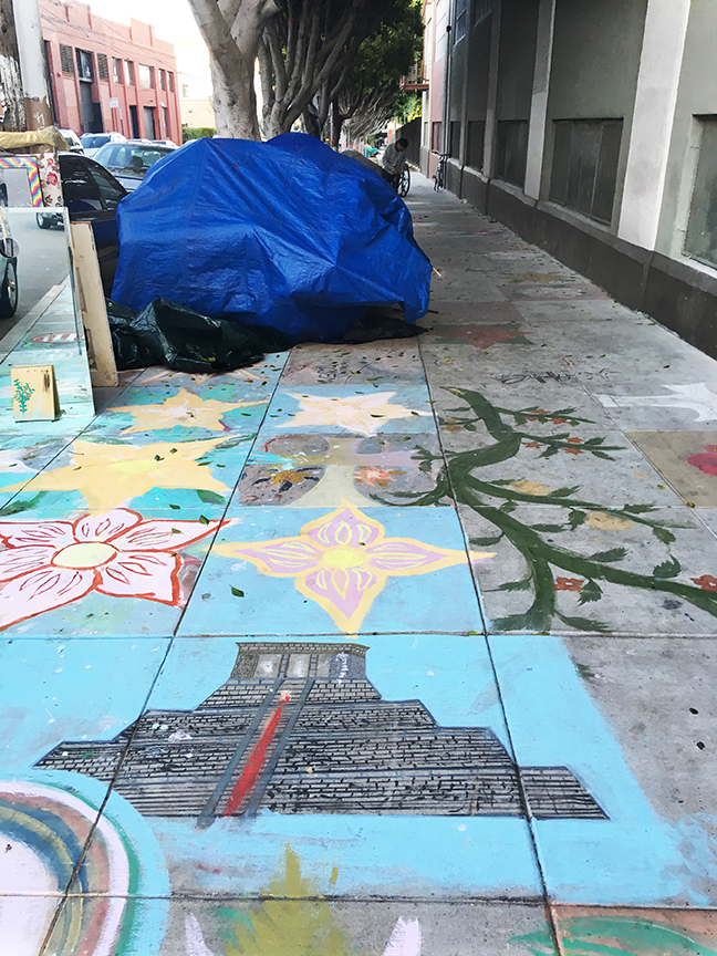 A depiction of a Mayan temple by Javier Antonio Chab Dzul next to the homeless encampment at Shotwell and 19th streets. Photo: Alejandro Galicia Diaz