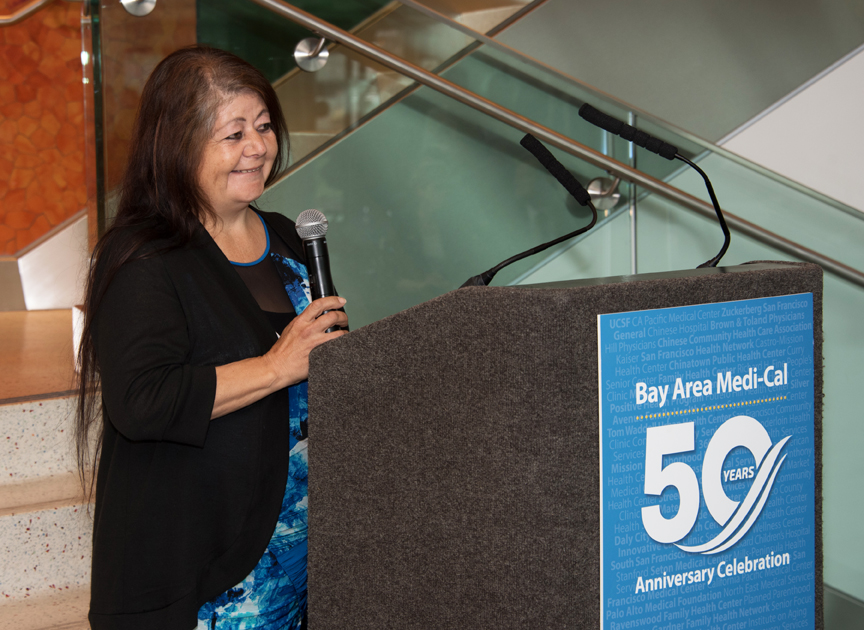 Elia Fernandez speaks at the Medi-Cal 50th anniversary in San Francisco on Oct. 25, about how Medi-Cal saved her and her daughter's lives. Courtesy Photo: Dawdy Photography
