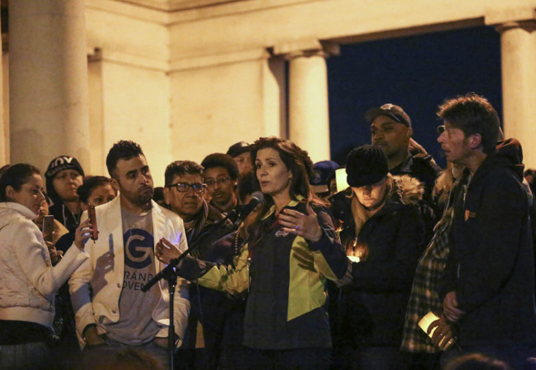 The crowd jeered and booed as Libby Schaaf, Mayor of Oakland, spoke at the vigil on Monday, December 5, 2016. Oakland, California, Monday, December 5, 2016. Photo: Jessica Webb