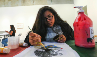 """Young Queens on the Rise work on their upcoming art exhibit """"They Love Our Culture. They Hate Our People,"""" on Nov. 30. The exhibition will display at the Southern Exposure Gallery, in the Mission District, Dec. 9-17. Photo: Jessica Webb"""