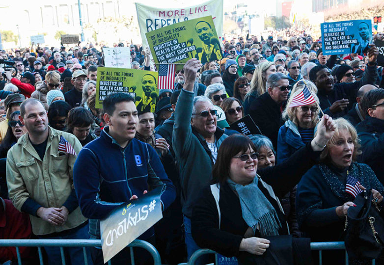 Nearly 2,000 people gathered near the steps of San Francisco's City Hall on Jan. 15, 2017 to protest the repeal of the Affordable Care Act. Photo: Cassie Ordonio