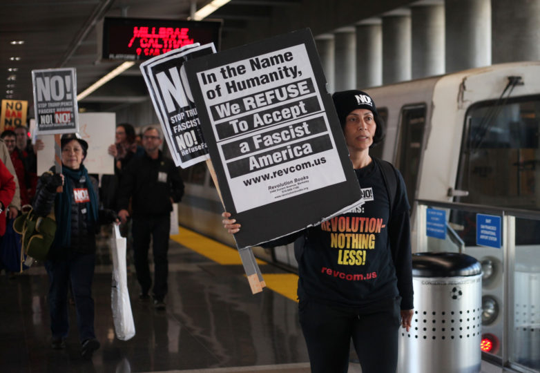 Maya Malika, 43, Oakland resident approaches the SFO International Airport in preparation  for the Muslim ban protests in San Francisco, Calif. On January 28, 2017. Photo: Janett Perez