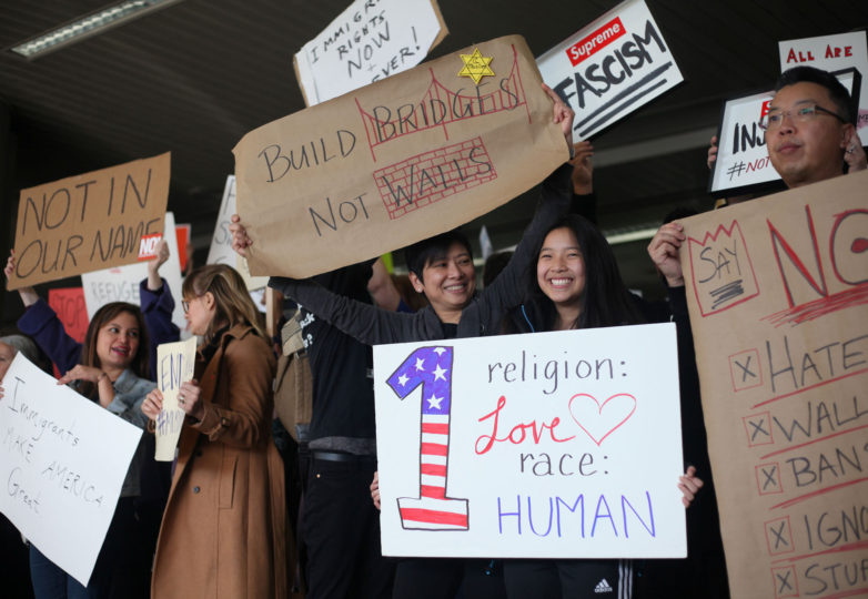 Protesters gather at arriving terminals at the SFO International Airport in response to the  Muslim Ban in San Francisco, Calif. on January 28, 2017. Photo: Janett Perez