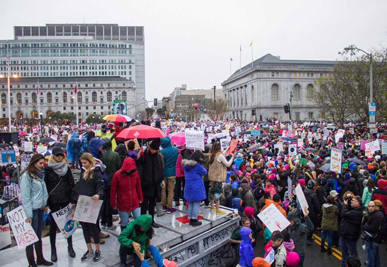 Crowds gather around city hall for the Women's March in San Francisco on Jan. 21, 2016. an estimated 100,000 people attended the march yesterday. Photo Brenna Cruz
