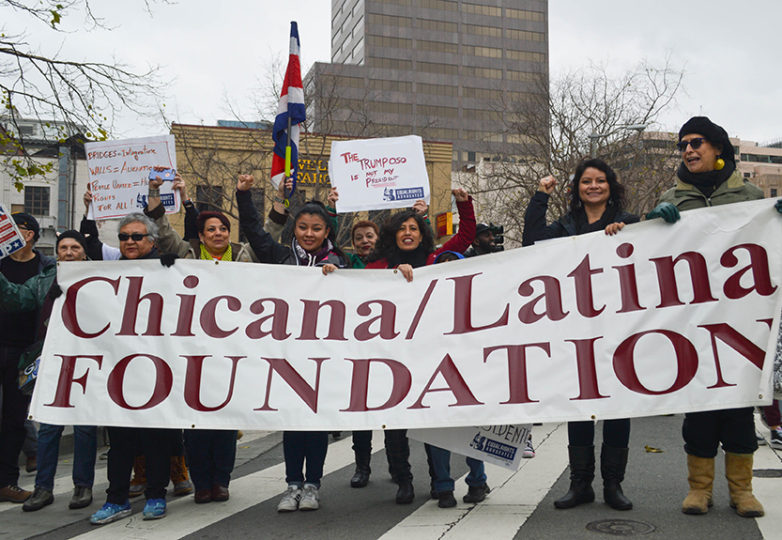 Chicana/Latina Foundation at the Women's March on Saturday January 21, 2017 at San Francisco Civic Center 100,000 women and supporters marched on Market Street to Embarcadero. Photo: Bridgid Skiba