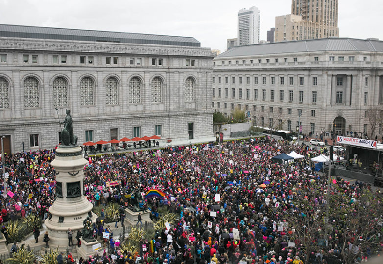 Protesters gather for a rally at Civic Center Plaza before the San Francisco Women's march on Saturday, Jan. 21, 2017 in San Francisco , Calif. Photo: Gabriella Angotti-Jones