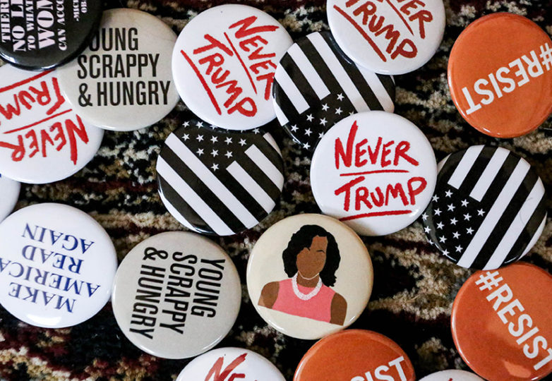 Pins for the Women's March in San Francisco, Cali on Saturday, January 21, 2017. (Jessica Webb)