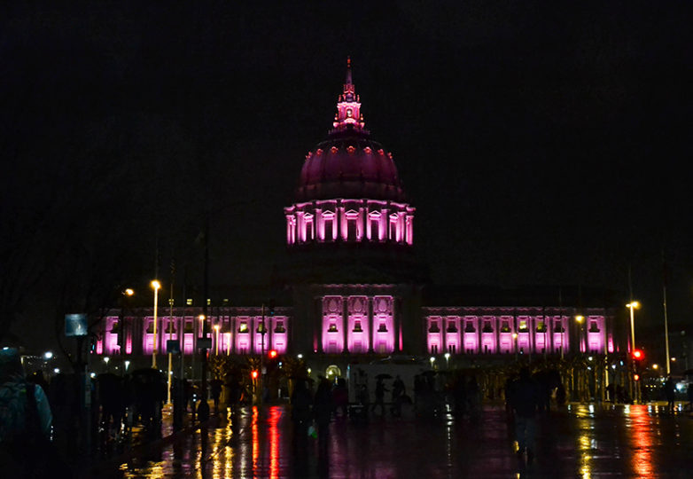 Over 100,000 people gathered for San Francisco's Women's March on Saturday January 21, 2017. Heavy rains didn't stop the crowds who rallied at Civic Center and marched on Market street to the Embarcadero. Photo: Mabel Jiménez