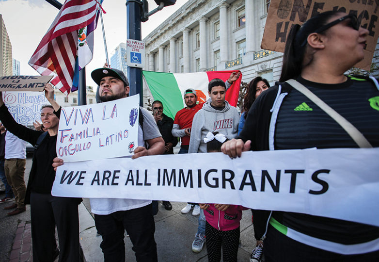 A crowd gathers in front of San Francisco City Hall as part of nationwide 'Day Without Immigrants' protest on Thursday, Feb. 16, 2017 in San Francisco, Calif. Photo: Ekevara Kitpowsong