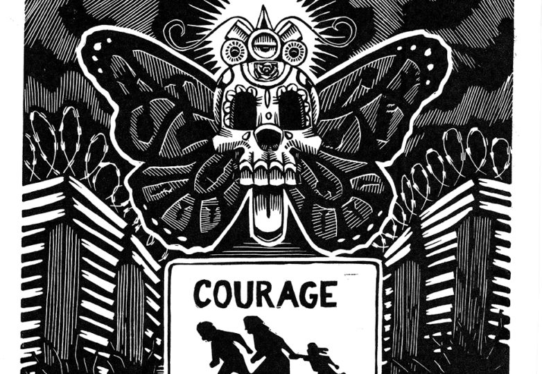 """""""Courage,"""" linocut by Chamuco Cortez"""