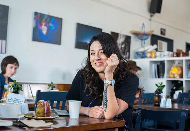 Owner, Andrea de Francisco poses for a portrait outside of Cafe St. Jorge, a Portuguese-inspired cafe and bakery, located off of Mission Street in San Francisco's Outer Mission neighborhood, March 3. Photo: Desiree Rios