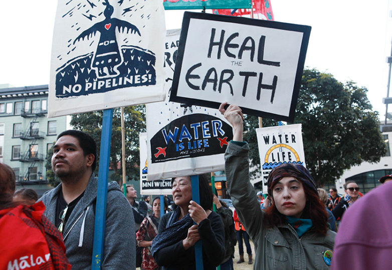 Water protectors gather outside San Francisco's Federal building on March 10, 2017 to show their support for the Washington D.C. Native Nations March in opposition of a controversial pipeline project and president. Photo: Cassie Ordonio