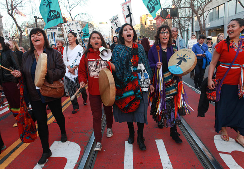Water protectors march toward San Francisco's City Hall on March 10, 2017 in opposition to the controversial Dakota Access Pipeline project. Photo: Cassie Ordonio