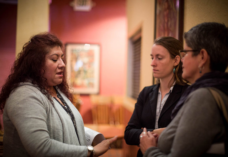 Gabrielle Lozano, L's Cafe, and Amparo Vigil, Puerto Alegre, ask immigration attorney Megan Sallomi about specific Immigration and Customs Enforcement (ICE) situations and how to best handle them, March 20, 2017, San Francisco, CA. Photo: Jessica Webb