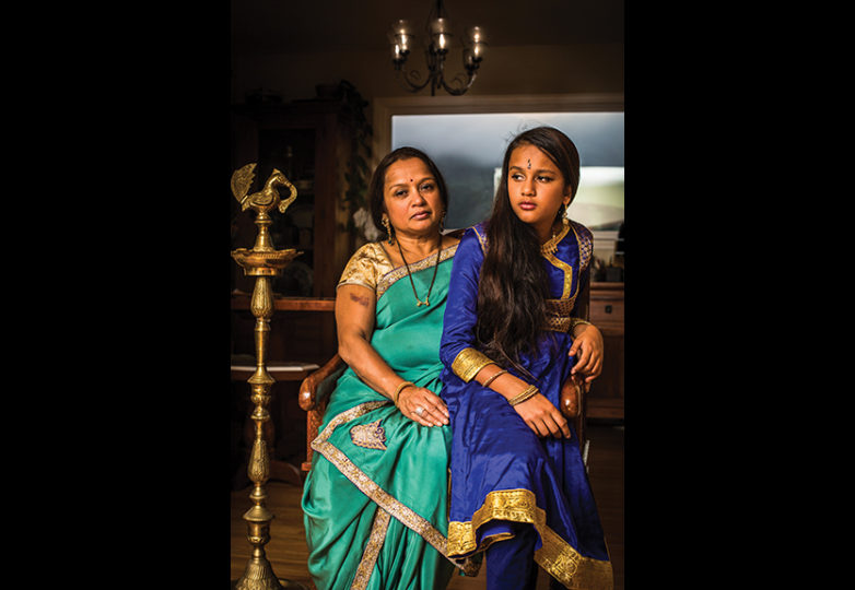 """I was the first one to migrate to America in my family, and as I have gotten older, I have noticed that I have embraced my culture more. The embroidery on my saree was passed from my great-grandmother, to my mother, and then to me, and I will pass it down to my daughter. I want her to be proud of who she is."" — Semma Kantak"